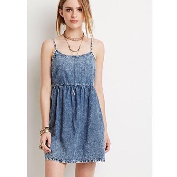 02eced4fe6d Forever 21 Dresses   Skirts - Forever 21 Chambray Denim Mineral Wash Cami  Dress